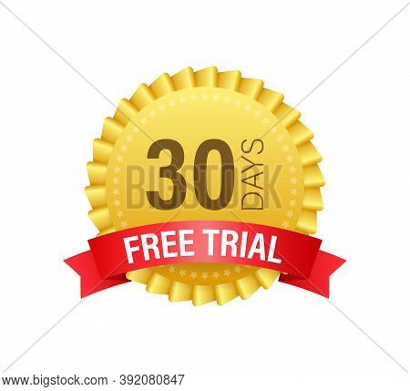30 Days Free Trial Label, Badge, Sticker. Software Promotions For Free Downloads. It Can Be Used For