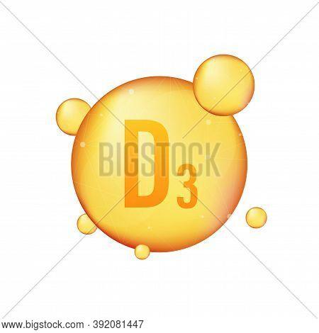 Vitamin D 3 Gold Shining Icon. Ascorbic Acid. Vector Illustration