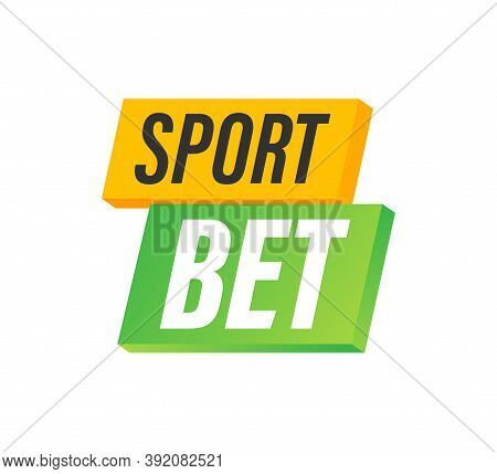 Sport Bet. Flat Web Banner With Red Bet Now On White Background For Mobile App Design. Vector Stock
