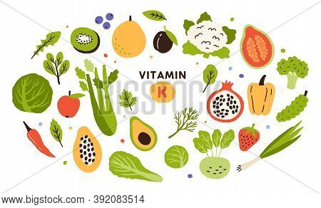 Collection Of Vitamin K Sources. Fruits, Green Vegetables And Berries. Dietetic Products, Natural Or