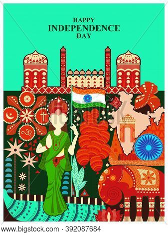 Indian Multicolor Kitsch Background For 15th August Happy Independence Day Of India