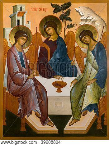 Ukraine, Odessa - April 12, 2016: Icon Of The Holy Trinity.