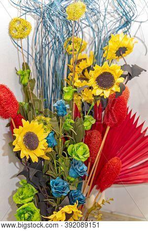 Paper And Textile Flowers Bouquet Craft Decor