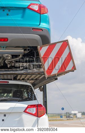 Rear End Of Car Trailer Delivery Transport