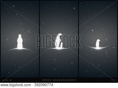 Bear Family In Space. White Silhouette Of Lonely Little Bear. Endangered Animals. Black And White Ve