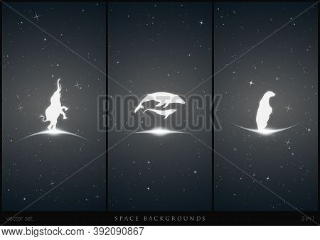 Endangered Animals In Space. White Silhouette Of Elephant, Humpback Whale Family And Lonely Polar Be