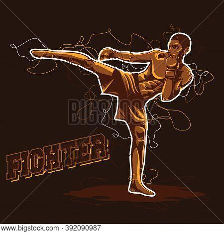 Fighter Logo Vector. Mix Martial Arts Fighter Illustration Vector