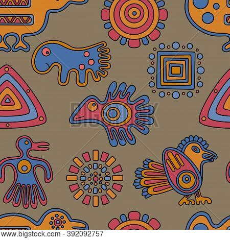 Abstract Ethnic Seamless Pattern.ornament With Strange Birds. Vector Illustration.