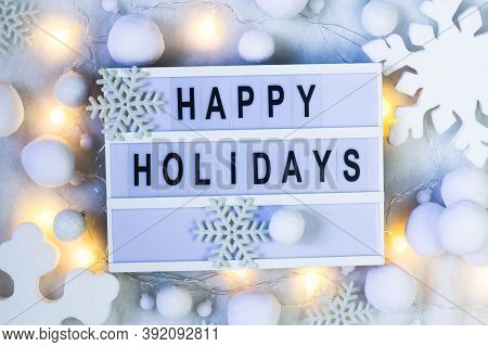 Happy Holidays Background. Creative Layout Made Of Greeting Letters