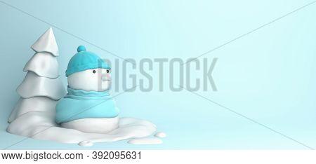 Winter Abstract Design Creative Concept, Snowman, Snow, Pine, Spruce, Fir Tree On Blue Pastel Backgr