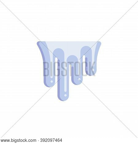 Snow Icicles Flat Icon, Frozen Icicle Vector Sign, Colorful Pictogram Isolated On White. Symbol, Log