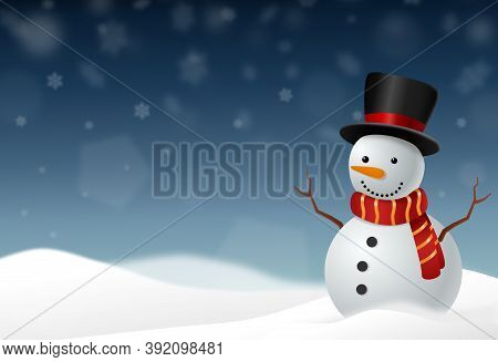 Snowman Wearing  Hat And Scarf Smile  In Snowy Landscapes Isolate On Png Or Transparent  Background,