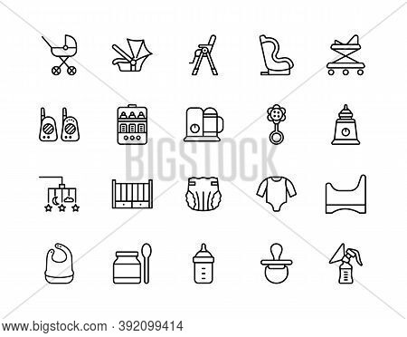 Baby Items Flat Line Icons Set. Vector Illustration Necessary Things For The Baby And Parents. Edita