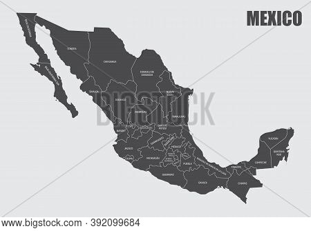 The Mexico Map Divided In States With Labels