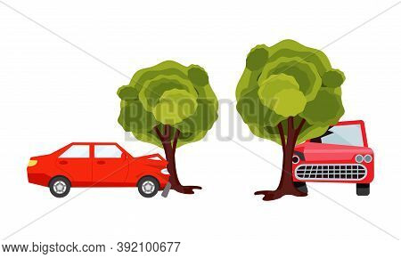 Car Hitting Against Tree Trunk Causing Wreckage And Deformation Vector Set