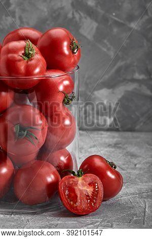 Organic Heirloom Tomato On Rustic Dark Background. Red Bulls Heart.