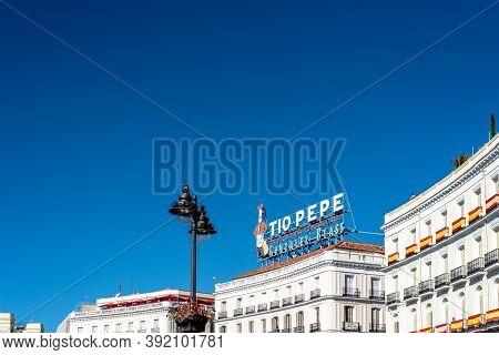 Madrid, Spain - October 11, 2020: Puerta Del Sol Square In Central Madrid.