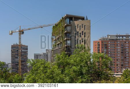 Santiago, Chile-february 28, 2020: Green Skyscraper Building With Plants Growing On The Facade, Sant