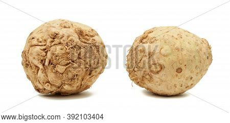 Round Celery Root Isolated On White Background, Set