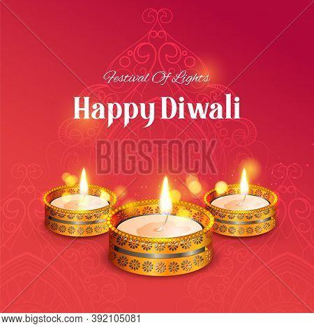 Illustration Of Decorative Burning Oil Diya On Happy Diwali Holiday Background For Light Festival Of
