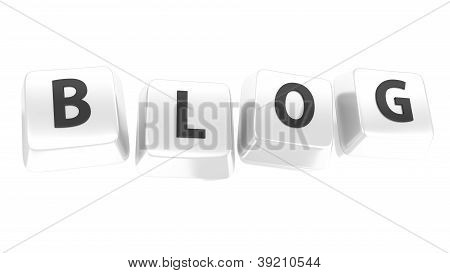 Blog Written In Black On White Computer Keys. 3D Illustration. Isolated Background.
