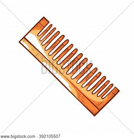 Comb For Untangling Hairs Or Beard With Similar Teeth. Wooden Or Plastic Tool For Hairdresser, Barbe