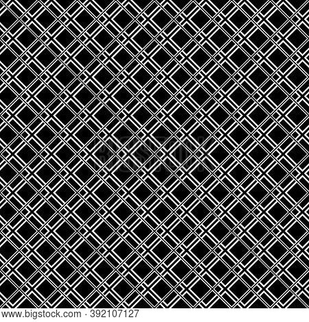 Seamless Surface Pattern With Diamond Contours Ornament. White Rhombuses Outlines On Black Backgroun