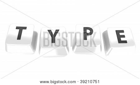 Type Written In Black On White Computer Keys. 3D Illustration. Isolated Background.
