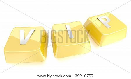 Vip Written In White On Golden Computer Keys. 3D Illustration. Isolated Background.