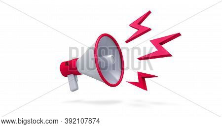 3d Rendering, Close Up Red And White Megaphone And Loudness Icon With Shadow, Social Media Marketing