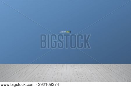 Empty Wooden Room Space Background. With Wooden Floor Perspective Pattern And Blue Wall Background.