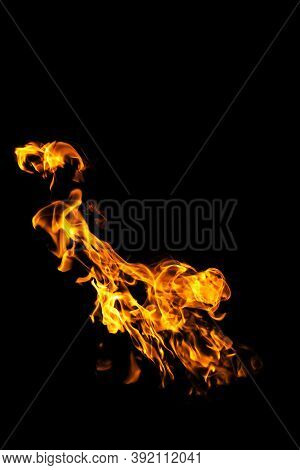 Fire Flames On Black Background Isolated. Burning Gas Or Gasoline Burns With Fire And Flames. Flamin