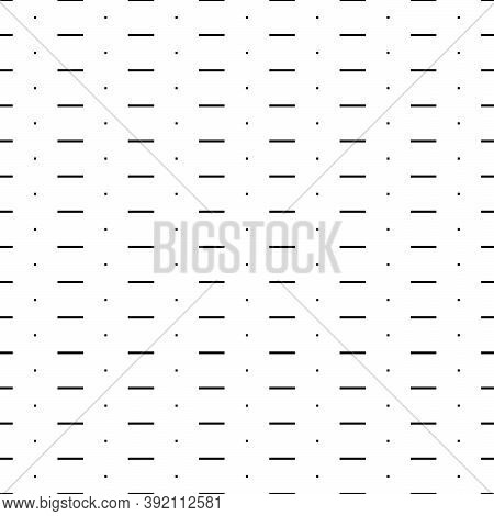 Dashed And Dotted Black Lines On White Background. Seamless Surface Pattern Design With Squares And