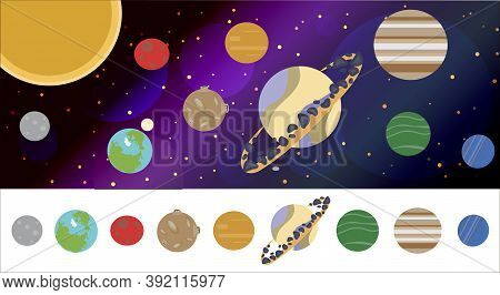The Solar System With All The Planets In A Flat Cartoon Style. Space And Planet Background. Planets