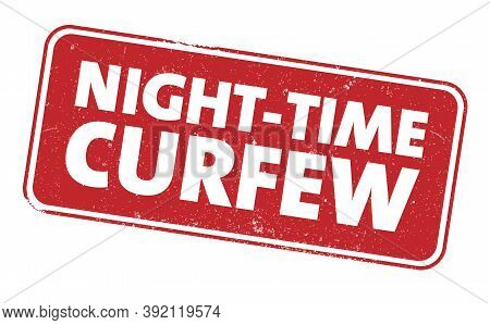 Red Grungy Nighttime Curfew Sign Or Stamp Vector Illustration