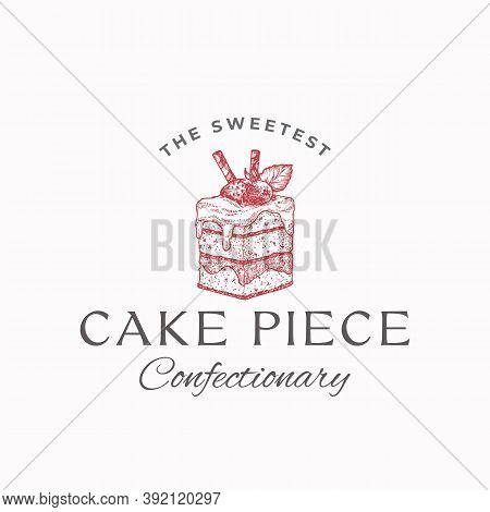 Sweetest Cake Piece. Premium Quality Confectionary Abstract Sign, Symbol Or Logo Template. Hand Draw