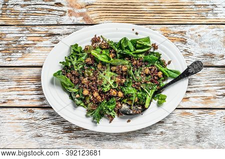 Healthy Salad With Spinach, Quinoa And Roasted Vegetables. Super Food. White Background. Top View