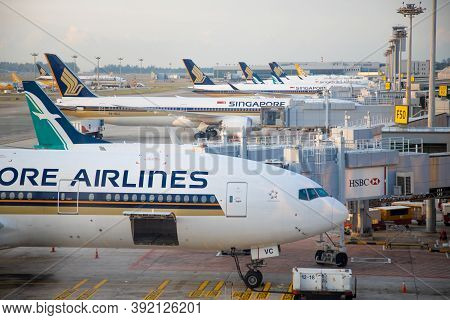 Singapore - February 11, 2020: Singapore Airlines Aircraft Stand, Loaded And Serviced At The Jet Bri