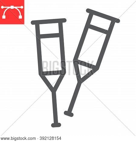 Crutches Line Icon, Disability And Equipment, Crutch Sign Vector Graphics, Editable Stroke Linear Ic