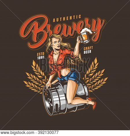 Brewery Colorful Logo In Vintage Style With Wheat Ears Inscriptions Pretty Woman Holding Beer Cup An