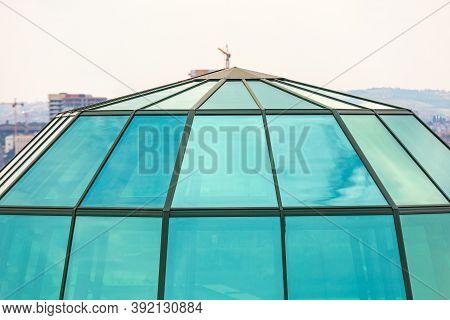 Modern Green Glass Dome Top Skylight Skyscraper