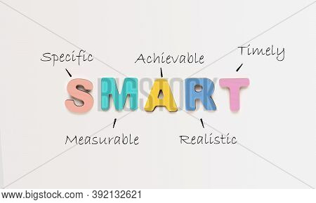 Goals Setting And Planning. Colorful Word Smart As Acronym Of Different Words Over White Background.