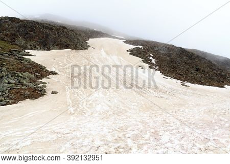 Mountain Snow Field Panorama In Tyrol Alps, Austria