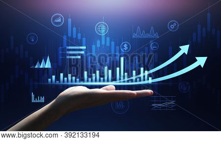 Economics In Hand For Monitoring And Analysis Of Data. Digital Hologram Of Profit Increase Graph, Ab