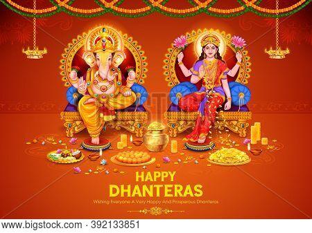 Illustration Of Goddess Lakshmi And Ganesha For Dhantera Celebration On Happy Diwali Light Festival