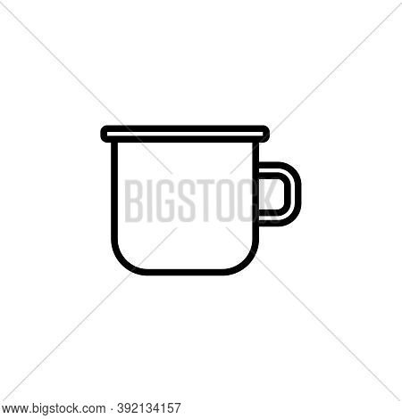 Enamel Mug Vector Icon. Cute Metal Drinking Cup. Minimalist Line Art.