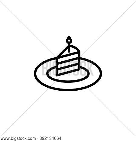 Birthday Cake With A Candle Vector Icon. Outlined Slice Of A Cake With A Candle On A Plate Isolated