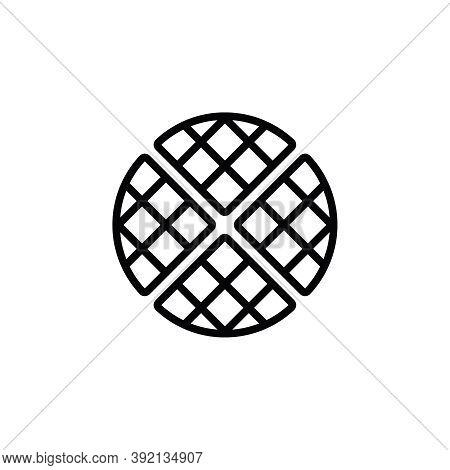 Belgian Waffle Vector Icon. Outlined Waffle Isolated On White Background. Minimalist Line Art.
