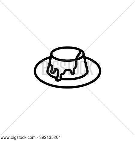 Toffee Pudding Vector Icon. Cute Pudding With Sauce Isolated On White Background. Minimalist Line Ar