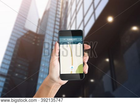 City Navigation App. Female Hand Holding Mobile Phone With Gps Navigator Application On Smartphone S